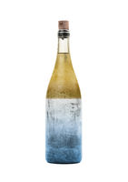 Old bottle of liquid, yellow and blue, covered in dust