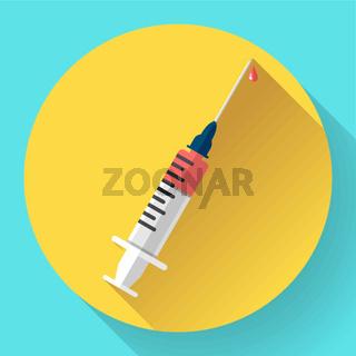 Medical syringe vector flat style icon