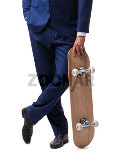 Businessman with skateboard isolated on white background