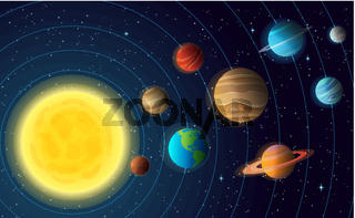 Solar system model with colorful planets at orbit and stars on sky