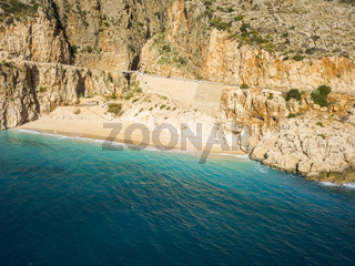 Aerial Drone View Kaputas Beach Empty Turkey