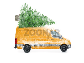 Driving delivery car with a christmas tree on the roof  isolated on white background. Transport and cargo concept.