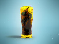 Green tea with ice and lemon in a glass with splashes in front 3d render on a blue background with shadow