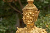 Close-up of golden Wat Phra Kaew guardian