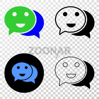 Happy Chat Vector EPS Icon with Contour Version