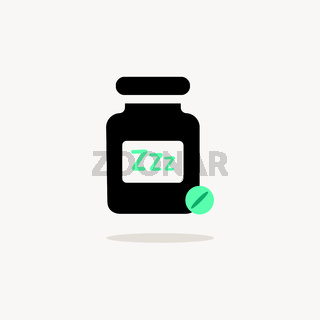 Sleeping pills. Icon with shadow on a beige background. Pharmacy vector illustration