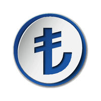 Turkish Lira currency symbol on round sticker with blue backdrop