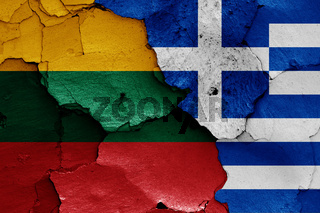 flags of Lithuania and Greece painted on cracked wall