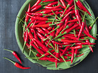 rustic red bird eye chilies