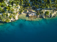 Top Down Aerial View Sunken City Kekova Turkey