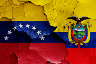 flags of Venezuela and Ecuador painted on cracked wall