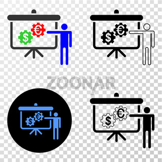 Financial Engine Presentation Vector EPS Icon with Contour Version