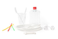 Disposable Plastic Cutlery and Parts for Single Use on White