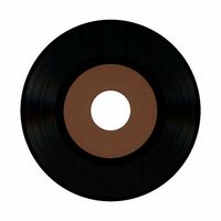 vinyl record with blank brown label isolated over white