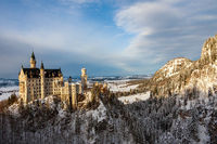 Panoramic view of Neuschwanstein Castle in winter. Germany