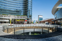 Milan, Italy - 30 June 2019: View of Piazza Gae Aulenti, Skyscrapers