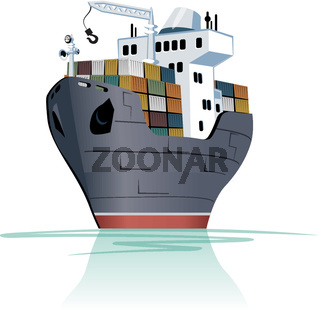 Cartoon cargo ship