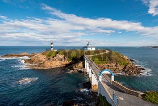 Pancha island lighthouse in Ribadeo coastline, Galicia, Spain.