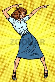 Dancing business woman. Disco dance club music