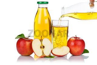 Apfelsaft einschenken eingießen eingiessen Apfel Saft Äpfel Flasche Fruchtsaft freigestellt Freisteller