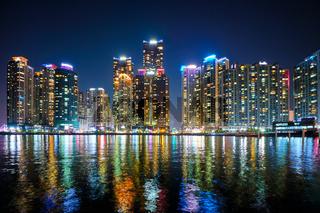 Busan Marina city skyscrapers illluminated in night