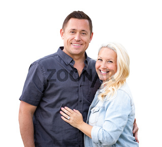 Happy Caucasian Couple Isolated on White Background