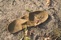 old insole for shoes to be thrown on the ground