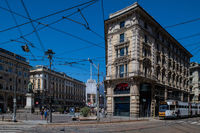Milan, Italy - 30 June 2019: View of Piazza Cordusio