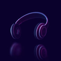 Modern 3D headphone on dark background. Abstract visualization of digital sound.