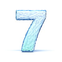 Ice crystal font Number 7 SEVEN 3D