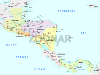 vector road map of the states of central america