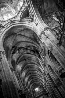Religion, Medieval Gothic architecture inside a cathedral in Spain. Stones and beautiful ashlars forming a dome