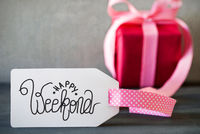 Pink Christmas Gift, Label With Calligraphy Happy Weekend