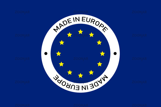 Made in Europe circle sign. Isolated sign on blue background. European stamp.