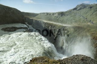 Dramatic Landscape At Gulfoss Waterfall In Iceland