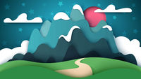 Cartoon paper landscape. Mountain illustration.