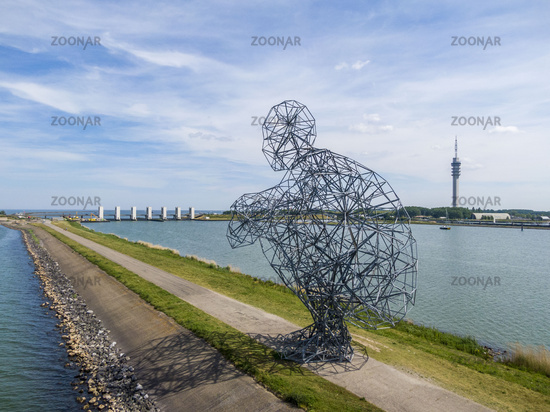 LELYSTAD, NEDERLANDS - JUNE 02, 2019: Giant Man is waiting for global warming