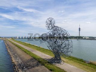 LELYSTAD, NEDERLANDS - JUNE 02, 2019: Giant Man is waiting for global warming