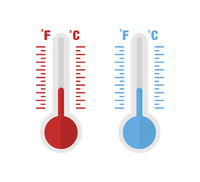 Thermometer red and blue colors isolated on white background. Trendy flat style. Temperature indicator. Cold or hot weather.