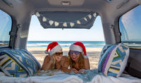Road tripping girls at Christmas time