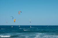 kite surfer and wind surfer on ocean at El Medano Beach
