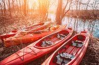 Group of canoes rental kayak on the lake shore beach