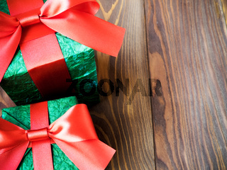 Gift boxes on the wooden board