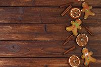 Christmas gingerbread cookies on wood