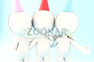 3d White people celebrating a birthday