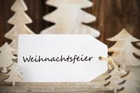 Christmas Tree, Label, Weihnachtsfeier Means Christmas Party