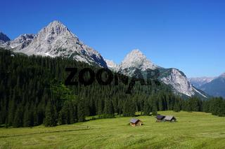 Ehrwalder Alm in Österreich, Tirol, Blick zur Mieminger Kette