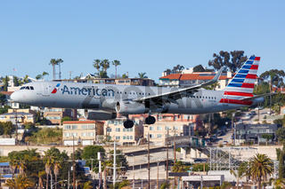 American Airlines Airbus A321 airplane San Diego airport