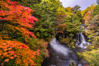 Ryuzu Waterfall Autumn forest Nikko Japan