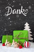 Green Gift, Ball, Snowflakes, Tree, Danke Means Thank You